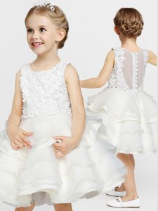 Scoop Sleeveless Clasp Handle Little Girls Pageant Dress White Organza