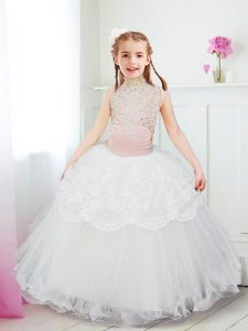 White Ball Gowns Halter Top Sleeveless Tulle Floor Length Zipper Beading and Lace Pageant Dress
