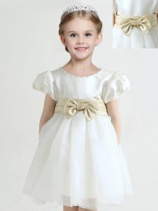Low Price Scoop White Empire Bowknot Little Girls Pageant Dress Wholesale Zipper Organza Short Sleeves Knee Length