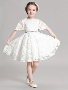White Zipper Evening Gowns Beading and Appliques Short Sleeves Mini Length