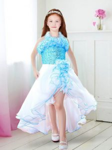 White and Aqua Blue Halter Top Neckline Ruffles Child Pageant Dress Sleeveless Zipper