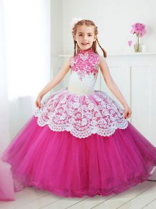 Halter Top Hot Pink Zipper High-neck Beading and Lace Child Pageant Dress Tulle Sleeveless