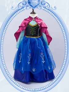 Royal Blue Long Sleeves Embroidery Floor Length Pageant Dress for Girls