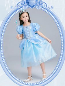 Square Light Blue Short Sleeves Organza Zipper Glitz Pageant Dress for Party and Quinceanera and Wedding Party