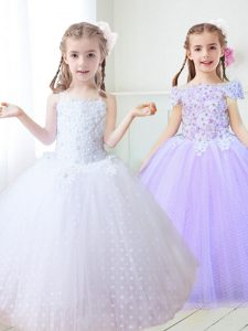 White Tulle Zipper Pageant Dress Sleeveless Floor Length Beading and Appliques