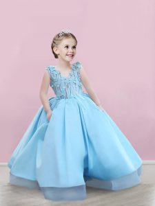 Floor Length Baby Blue Pageant Dress Wholesale Satin Sleeveless Appliques