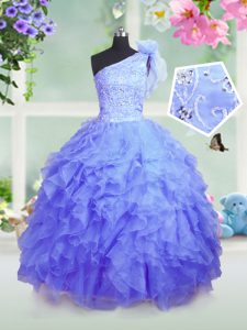 One Shoulder Blue Ball Gowns Beading and Ruffles Little Girls Pageant Gowns Lace Up Organza Sleeveless Floor Length
