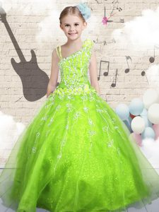 Asymmetric Sleeveless Organza Little Girls Pageant Dress Wholesale Beading and Appliques and Hand Made Flower Lace Up