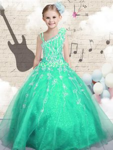 Affordable Asymmetric Sleeveless Child Pageant Dress Floor Length Appliques Apple Green Tulle