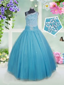 Fantastic Asymmetric Sleeveless Side Zipper Pageant Gowns Teal Tulle