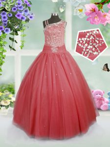 Watermelon Red Side Zipper Asymmetric Beading Pageant Dress for Womens Tulle Sleeveless