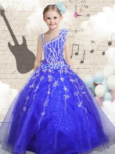 Custom Design Asymmetric Sleeveless Pageant Dress for Teens Floor Length Beading and Appliques and Hand Made Flower Blue Organza