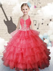 Ruffled Halter Top Sleeveless Lace Up Little Girls Pageant Gowns Coral Red Organza
