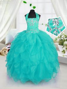 Beautiful Halter Top Aqua Blue Ball Gowns Beading Pageant Dresses Lace Up Organza Sleeveless Floor Length