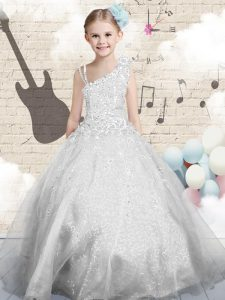 Silver Lace Up Kids Pageant Dress Beading and Appliques and Hand Made Flower Sleeveless Floor Length