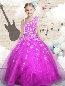 Beading and Appliques and Hand Made Flower Little Girls Pageant Dress Wholesale Fuchsia Lace Up Sleeveless Floor Length