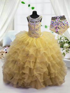 Ruffled Ball Gowns Little Girls Pageant Gowns Light Yellow Scoop Organza Sleeveless Floor Length Lace Up