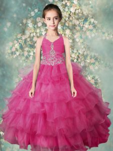 Latest Halter Top Ruffled Rose Pink Sleeveless Organza Zipper Little Girl Pageant Dress for Party and Wedding Party