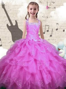 Halter Top Floor Length Rose Pink Little Girl Pageant Gowns Organza Sleeveless Beading and Ruffles