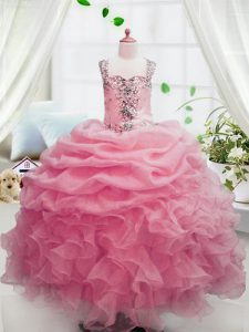 Organza Sleeveless Floor Length Custom Made Pageant Dress and Beading and Ruffles and Pick Ups