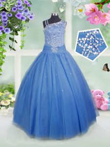 Baby Blue Side Zipper Asymmetric Beading Kids Pageant Dress Tulle Sleeveless