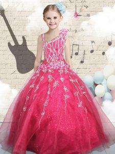 New Arrival Asymmetric Sleeveless Tulle Pageant Dress for Girls Appliques Lace Up