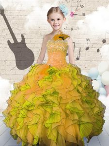 Nice Organza Sleeveless Floor Length Little Girls Pageant Gowns and Beading and Ruffles