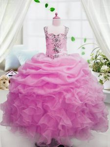 Sleeveless Beading and Ruffles and Pick Ups Zipper Winning Pageant Gowns