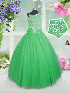 Excellent Sleeveless Side Zipper Floor Length Beading Pageant Dress Toddler