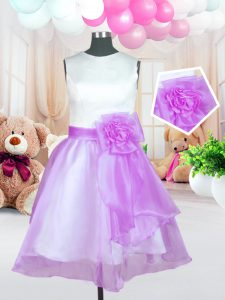 Lilac Scoop Neckline Hand Made Flower Pageant Dresses Sleeveless Zipper