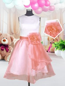Scoop Sleeveless Organza Knee Length Zipper Pageant Dress for Girls in Baby Pink with Hand Made Flower