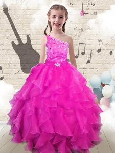 Nice One Shoulder Hot Pink Lace Up Little Girls Pageant Gowns Beading and Ruffles Sleeveless Floor Length