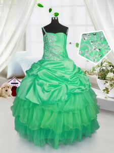 Apple Green Ball Gowns Strapless Sleeveless Satin and Tulle Floor Length Lace Up Beading and Ruffled Layers and Pick Ups Little Girls Pageant Gowns