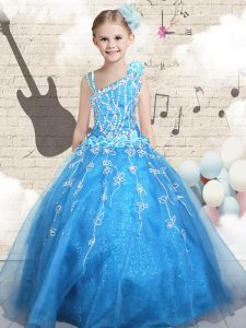 Ball Gowns High School Pageant Dress Baby Blue Asymmetric Tulle Sleeveless Floor Length Lace Up