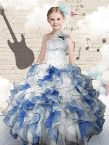 One Shoulder Blue And White Sleeveless Organza Lace Up Girls Pageant Dresses for Party and Wedding Party