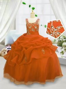 Straps Sleeveless Little Girls Pageant Gowns Floor Length Beading and Pick Ups Orange Organza