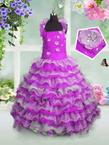 Great Sleeveless Organza Floor Length Lace Up Little Girls Pageant Gowns in Fuchsia with Beading and Appliques and Ruffled Layers