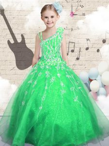 Asymmetric Sleeveless Lace Up Pageant Gowns Green Organza