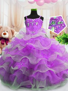 Discount Purple Sleeveless Floor Length Beading and Ruffled Layers Zipper Little Girls Pageant Gowns