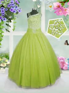 Excellent Ball Gowns Kids Pageant Dress Apple Green Asymmetric Tulle Sleeveless Floor Length Side Zipper