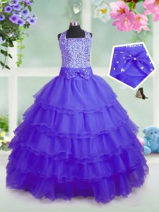 Sleeveless Organza Floor Length Zipper Girls Pageant Dresses in Purple with Beading and Ruffled Layers