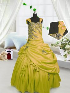 Super Sleeveless Floor Length Beading and Pick Ups Lace Up Pageant Dress for Teens with Gold