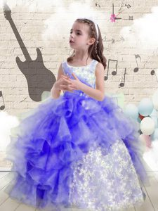 Scoop Blue Organza Lace Up Little Girls Pageant Gowns Sleeveless Floor Length Beading and Ruffles