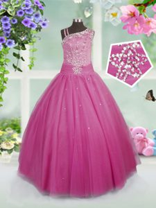 Rose Pink Ball Gowns Tulle Asymmetric Sleeveless Beading Floor Length Side Zipper Pageant Dress for Girls