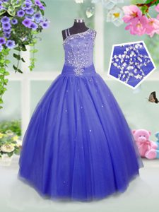 Blue Ball Gowns Tulle Asymmetric Sleeveless Beading Floor Length Side Zipper Pageant Dress