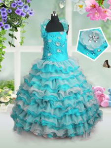 Organza Straps Sleeveless Lace Up Beading and Appliques and Ruffled Layers Little Girls Pageant Gowns in Blue And White