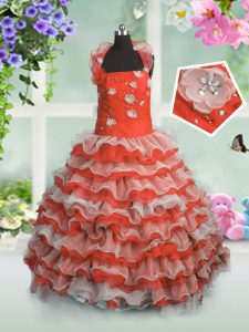 Beautiful Coral Red Straps Lace Up Beading and Appliques and Ruffled Layers Little Girls Pageant Gowns Sleeveless