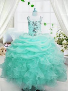 Beading and Ruffles and Pick Ups Little Girl Pageant Gowns Baby Blue Lace Up Sleeveless Floor Length