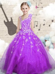 Classical Purple Sleeveless Floor Length Beading and Appliques and Hand Made Flower Lace Up Little Girls Pageant Dress