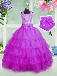 Dazzling Rose Pink Zipper Pageant Dresses Beading and Ruffled Layers Sleeveless Floor Length